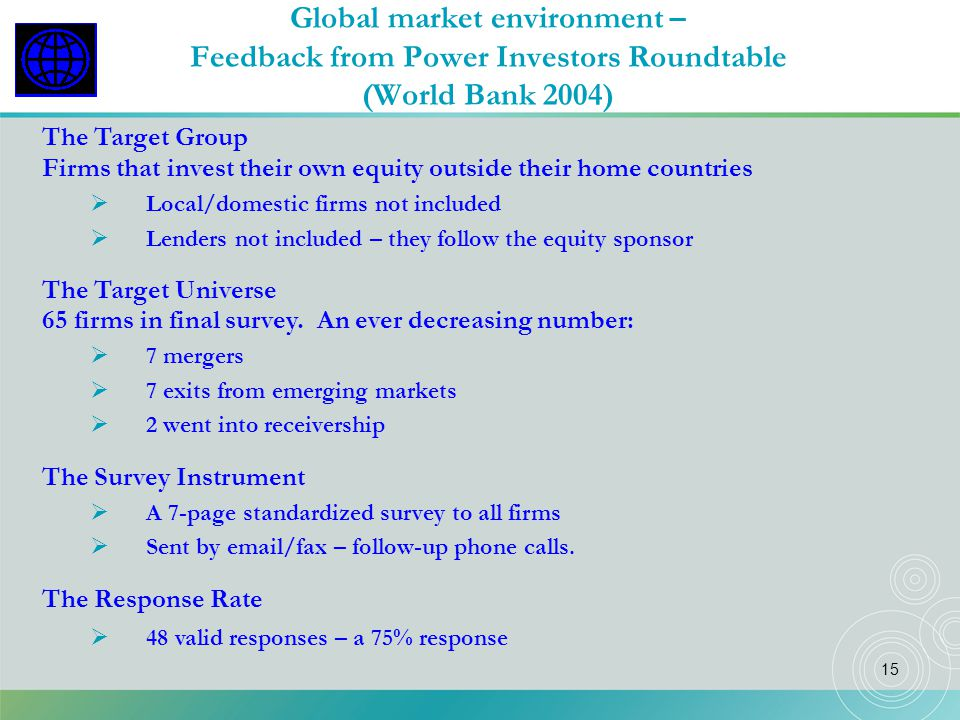 Global market environment – Feedback from Power Investors Roundtable (World Bank 2004)