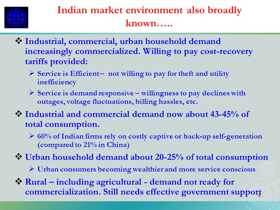 Indian market environment also broadly known…..