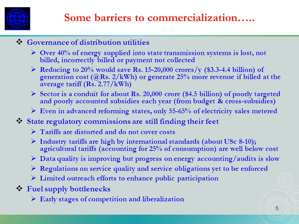Some barriers to commercialization…..