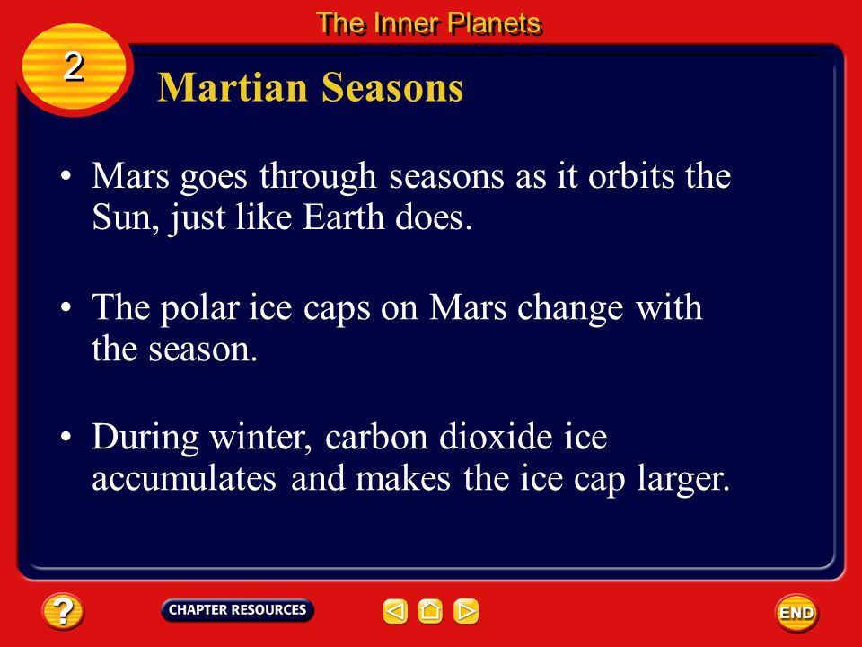 The Inner Planets 2. Martian Seasons. Mars goes through seasons as it orbits the Sun, just like Earth does.