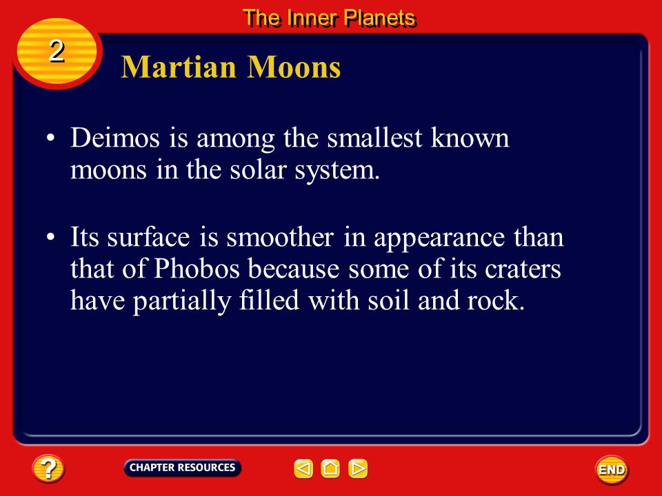 The Inner Planets 2. Martian Moons. Deimos is among the smallest known moons in the solar system.