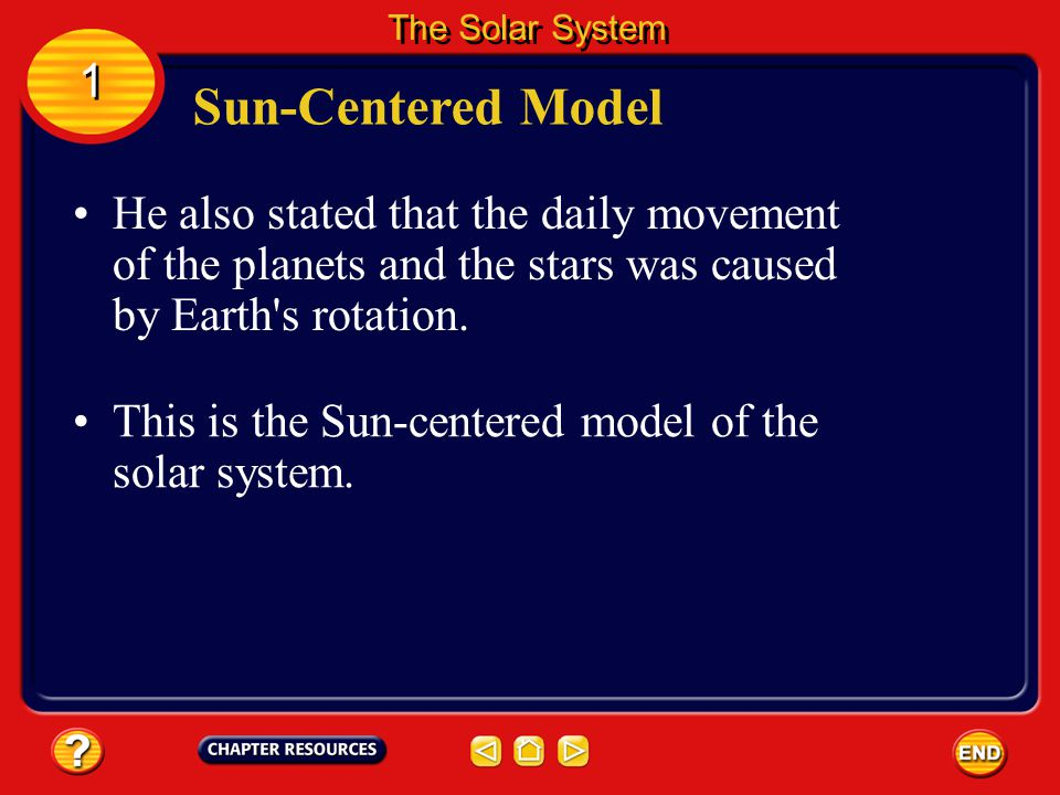 The Solar System 1. Sun-Centered Model. He also stated that the daily movement of the planets and the stars was caused by Earth s rotation.