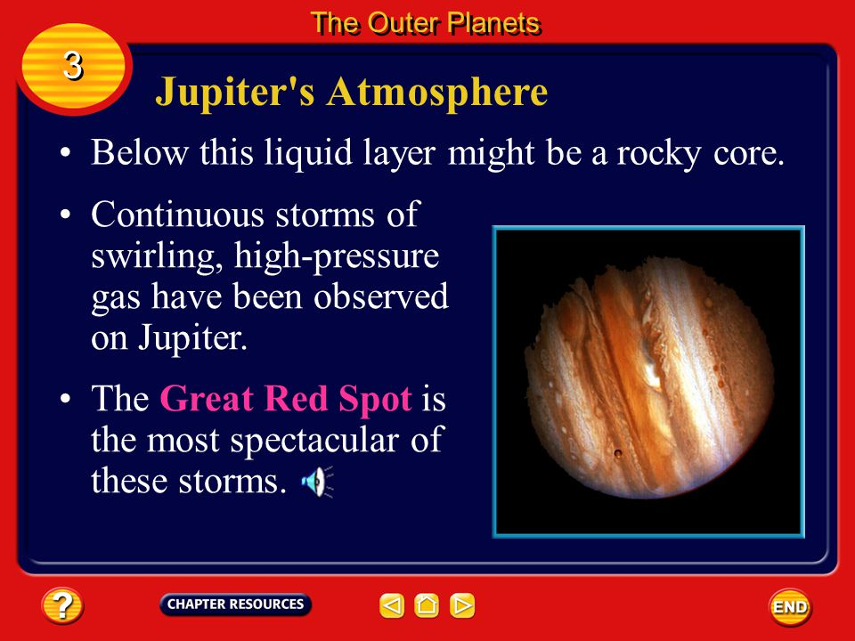 Jupiter s Atmosphere 3 Below this liquid layer might be a rocky core.