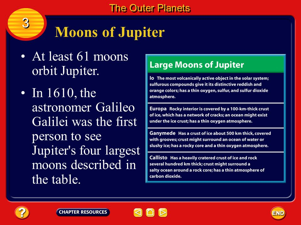 Moons of Jupiter 3 At least 61 moons orbit Jupiter.