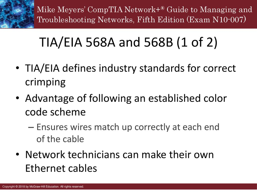 tia/eia 568a and 568b (1 of 2) tia/eia defines industry