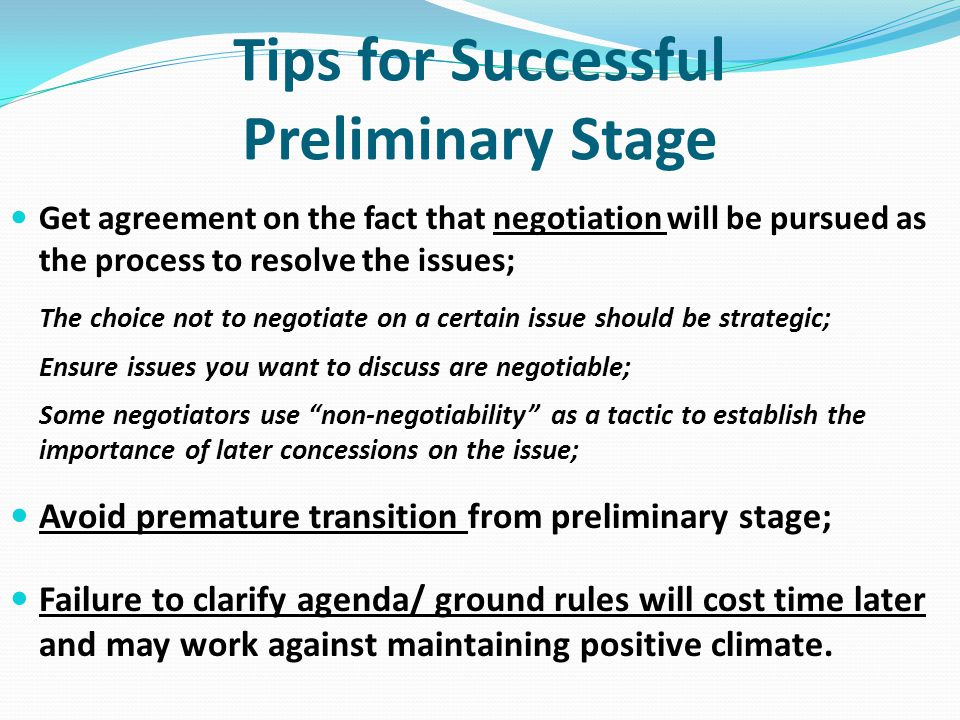 Tips for Successful Preliminary Stage