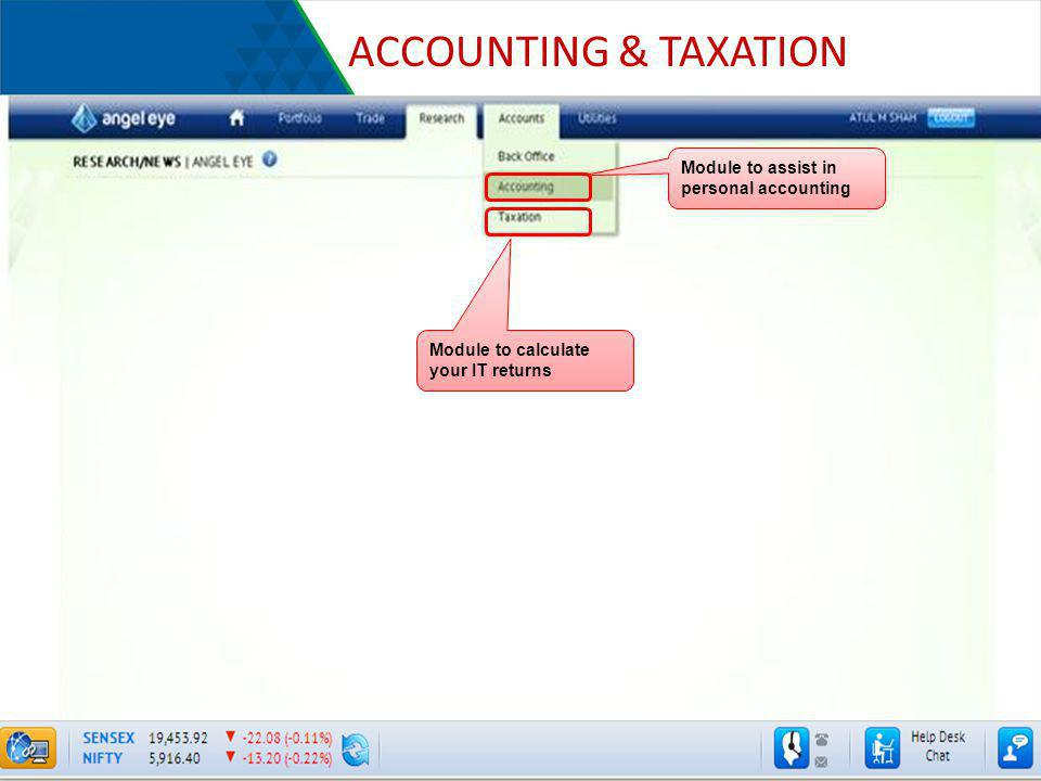 ACCOUNTING & TAXATION Module to assist in personal accounting
