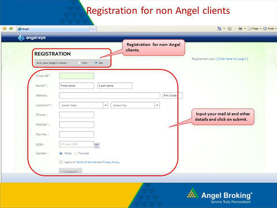 Registration for non Angel clients