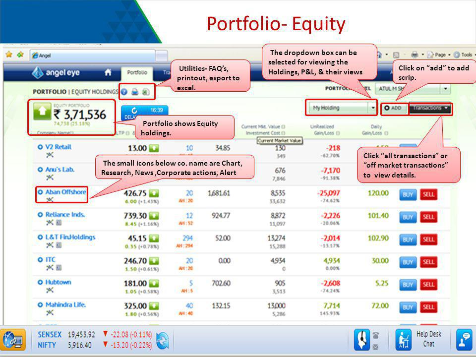 Portfolio- Equity The dropdown box can be selected for viewing the Holdings, P&L, & their views. Utilities- FAQ's, printout, export to excel.