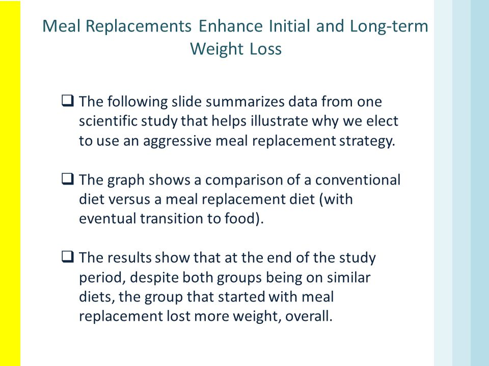 Meal Replacements Enhance Initial and Long-term Weight Loss
