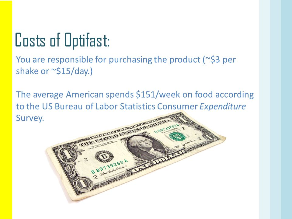Costs of Optifast: You are responsible for purchasing the product (~$3 per shake or ~$15/day.)