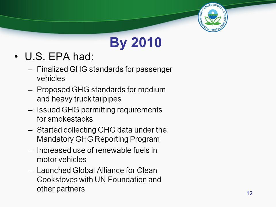 By 2010 U.S. EPA had: Finalized GHG standards for passenger vehicles