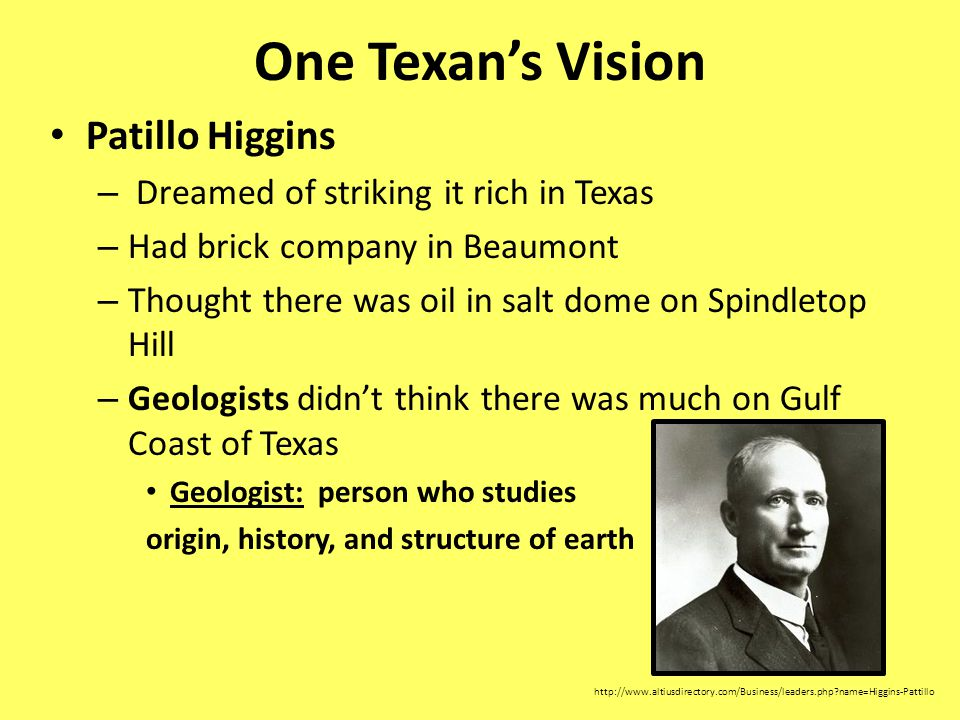 One Texan's Vision Patillo Higgins