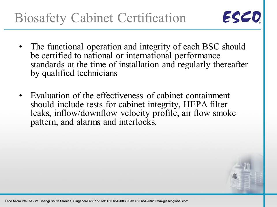 Biosafety Cabinet Certification