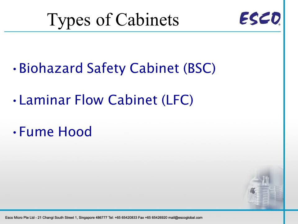 Types of Cabinets Biohazard Safety Cabinet (BSC)