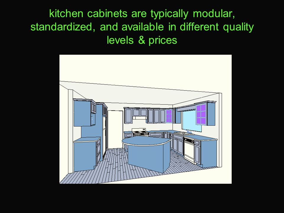 kitchen cabinets are typically modular, standardized, and available in different quality levels & prices