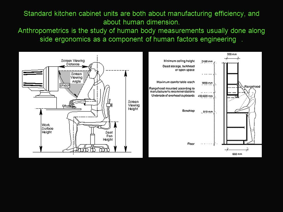 Standard kitchen cabinet units are both about manufacturing efficiency, and about human dimension.