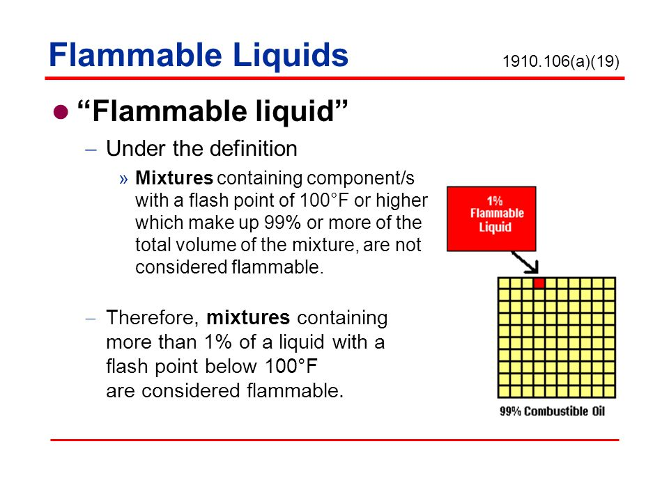 Flammable Liquids Flammable liquid Under the definition