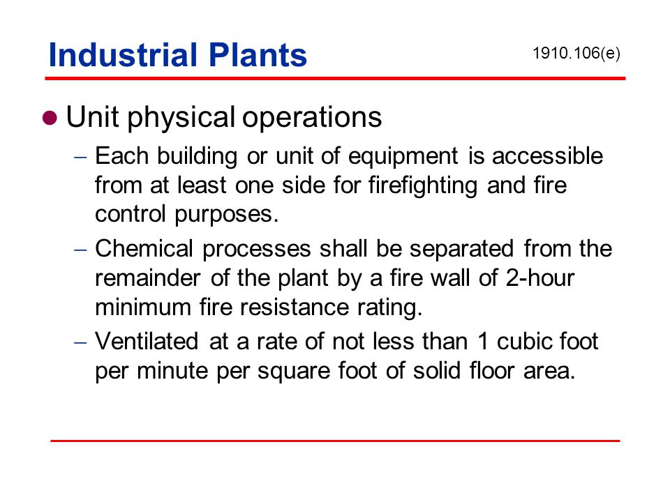 Industrial Plants Unit physical operations
