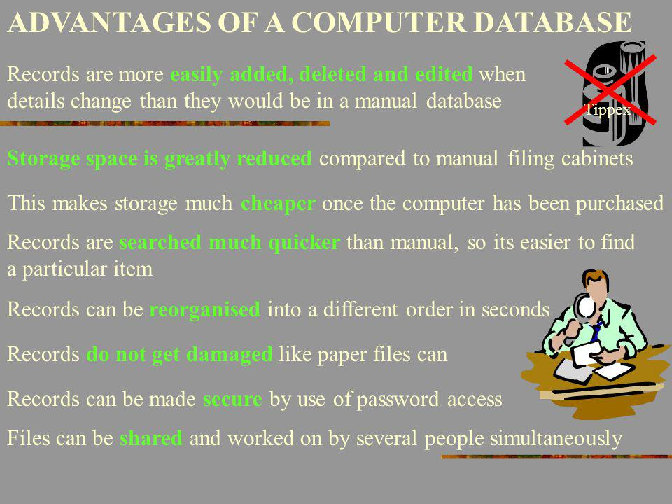 ADVANTAGES OF A COMPUTER DATABASE