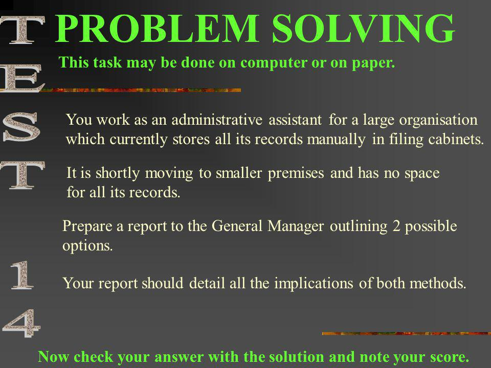 PROBLEM SOLVING TEST 14 This task may be done on computer or on paper.