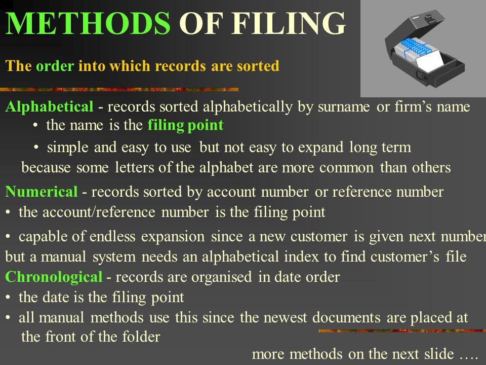 METHODS OF FILING The order into which records are sorted Alphabetical