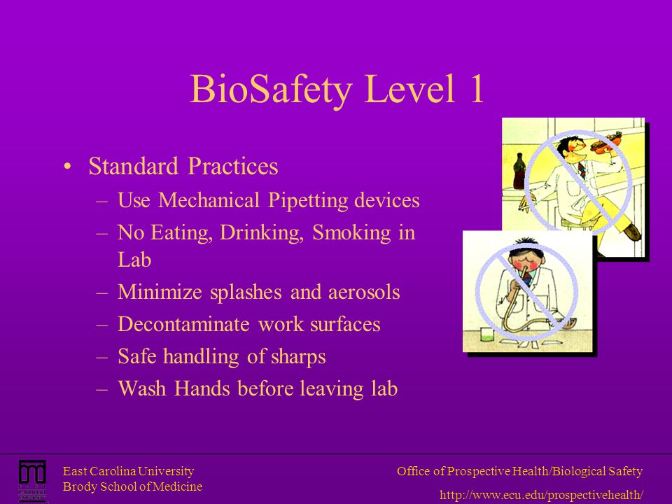 BioSafety Level 1 Standard Practices Use Mechanical Pipetting devices
