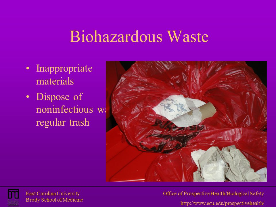 Biohazardous Waste Inappropriate materials