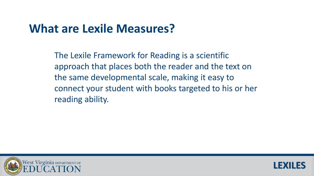 West Virginia Parent Report for Lexile and Quantile Measures
