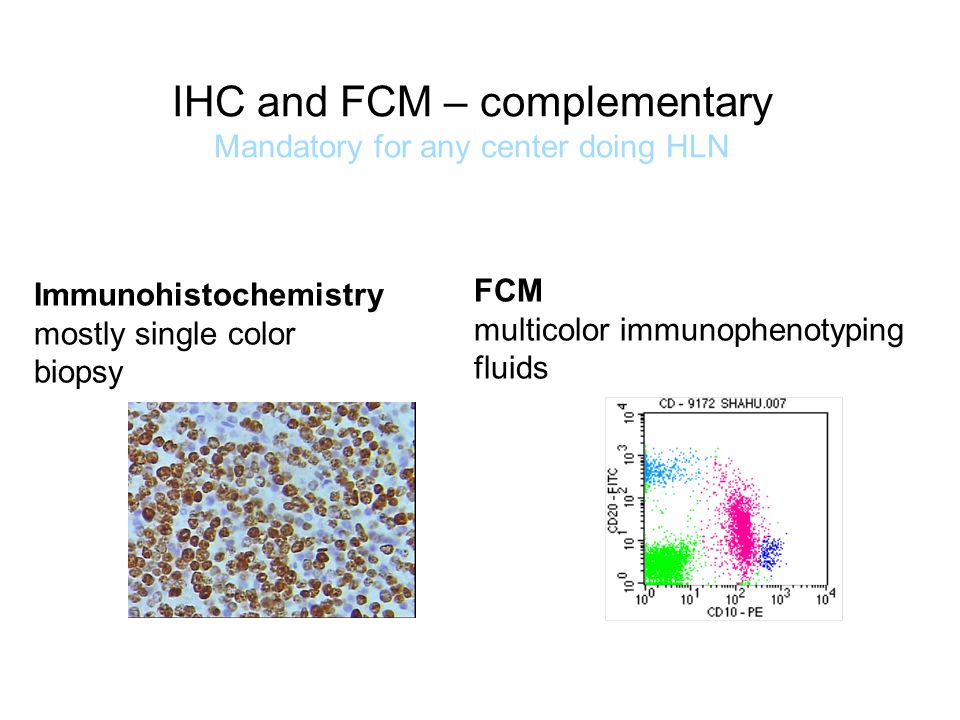 IHC and FCM – complementary Mandatory for any center doing HLN