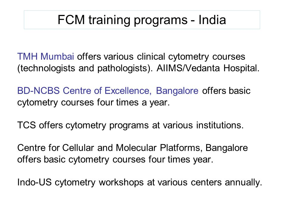 FCM training programs - India
