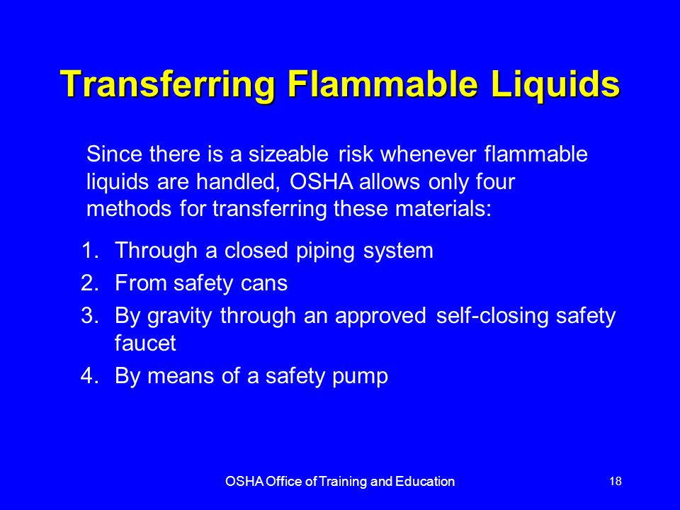 Transferring Flammable Liquids