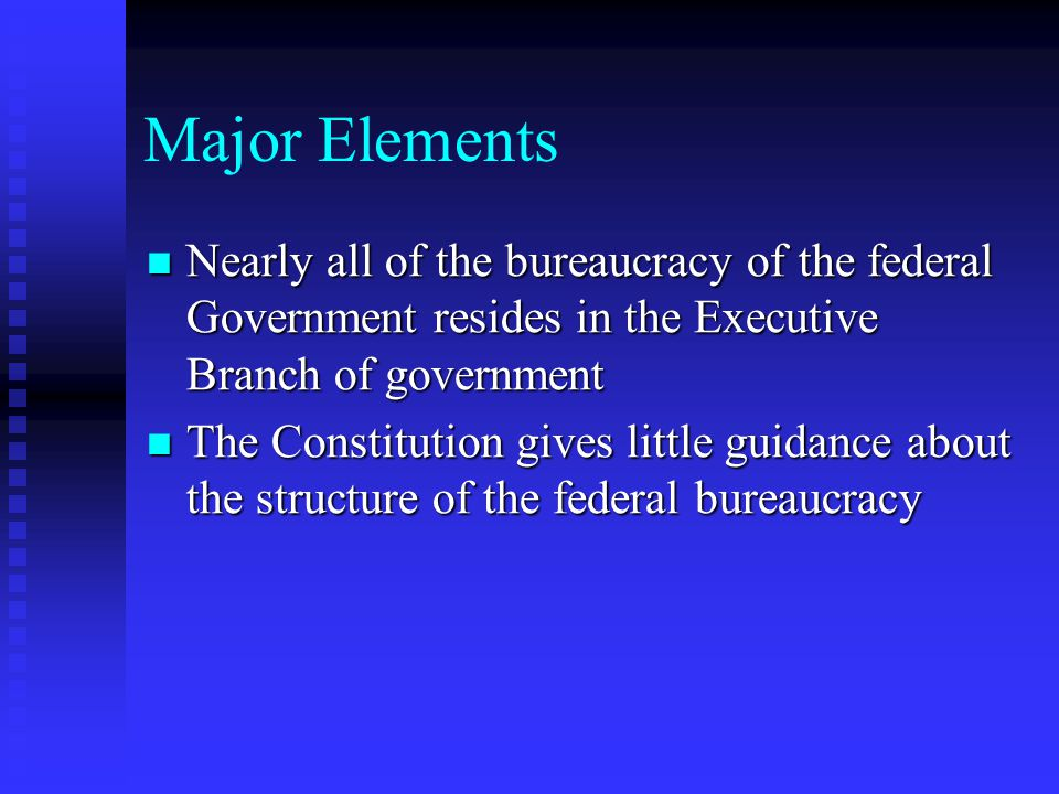 Major Elements Nearly all of the bureaucracy of the federal Government resides in the Executive Branch of government.