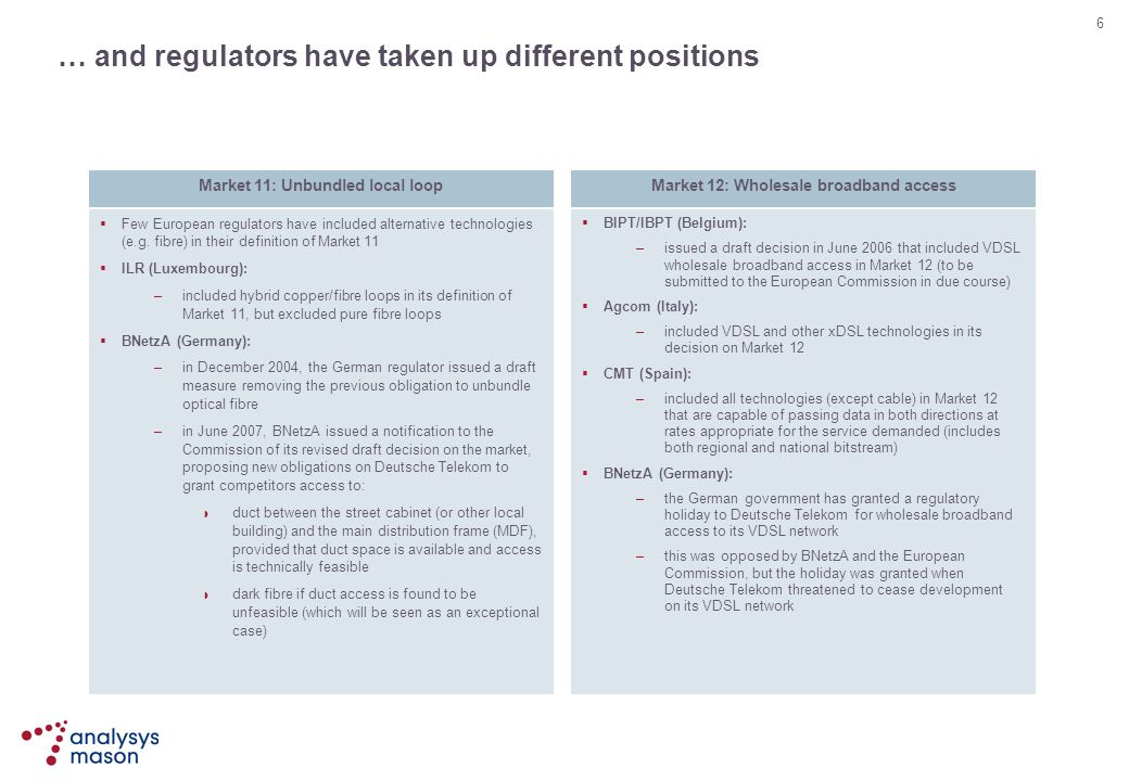 … and regulators have taken up different positions