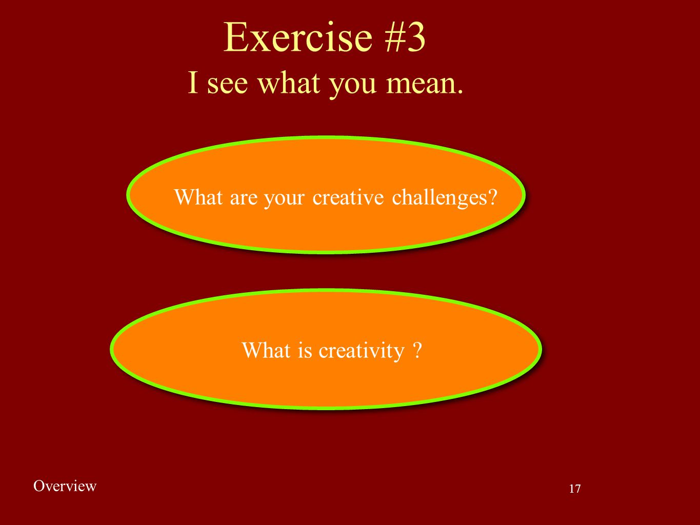Exercise #3 I see what you mean. What are your creative challenges