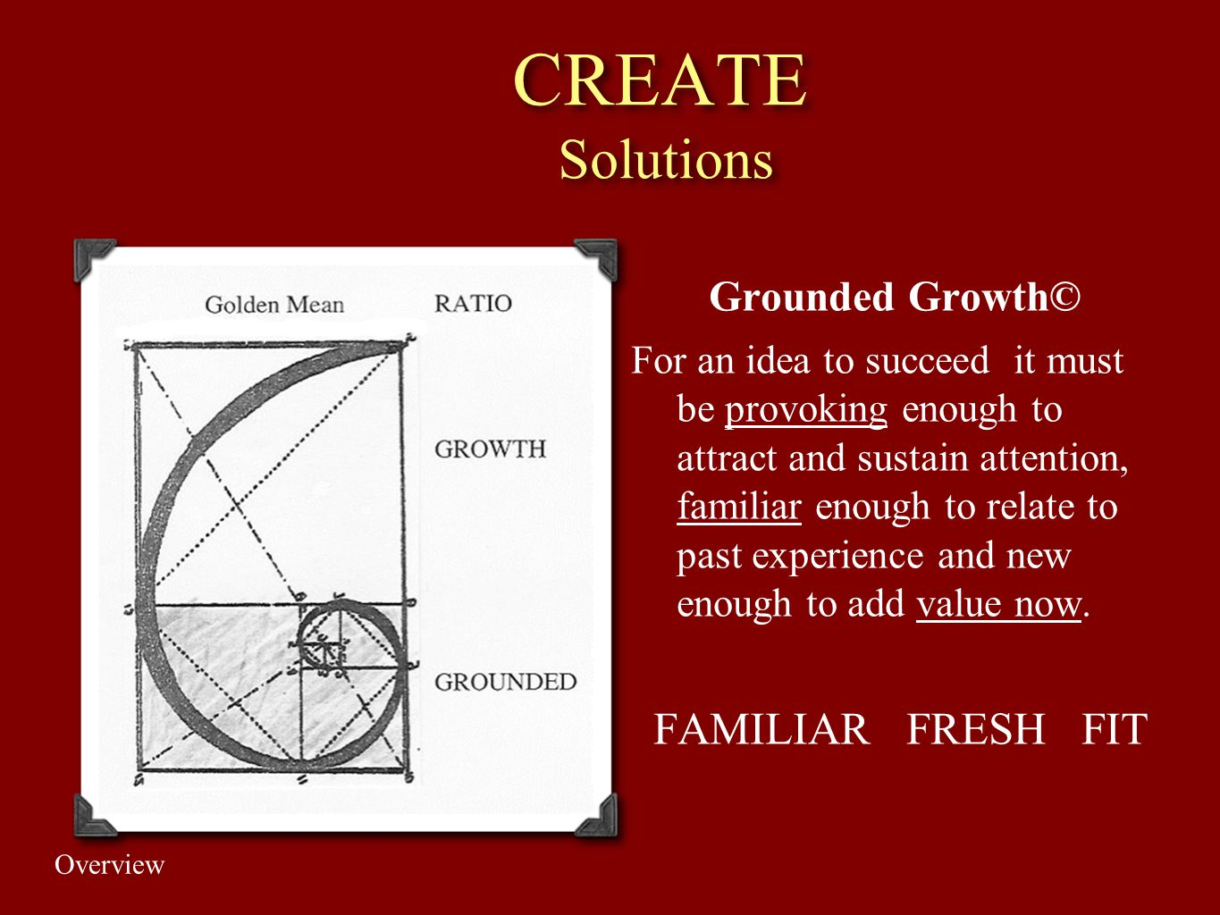 CREATE Solutions FAMILIAR FRESH FIT Grounded Growth©