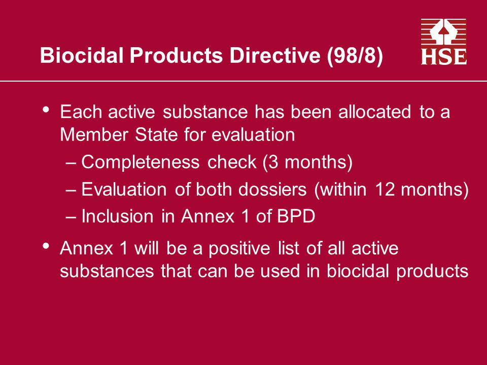 Biocidal Products Directive (98/8)