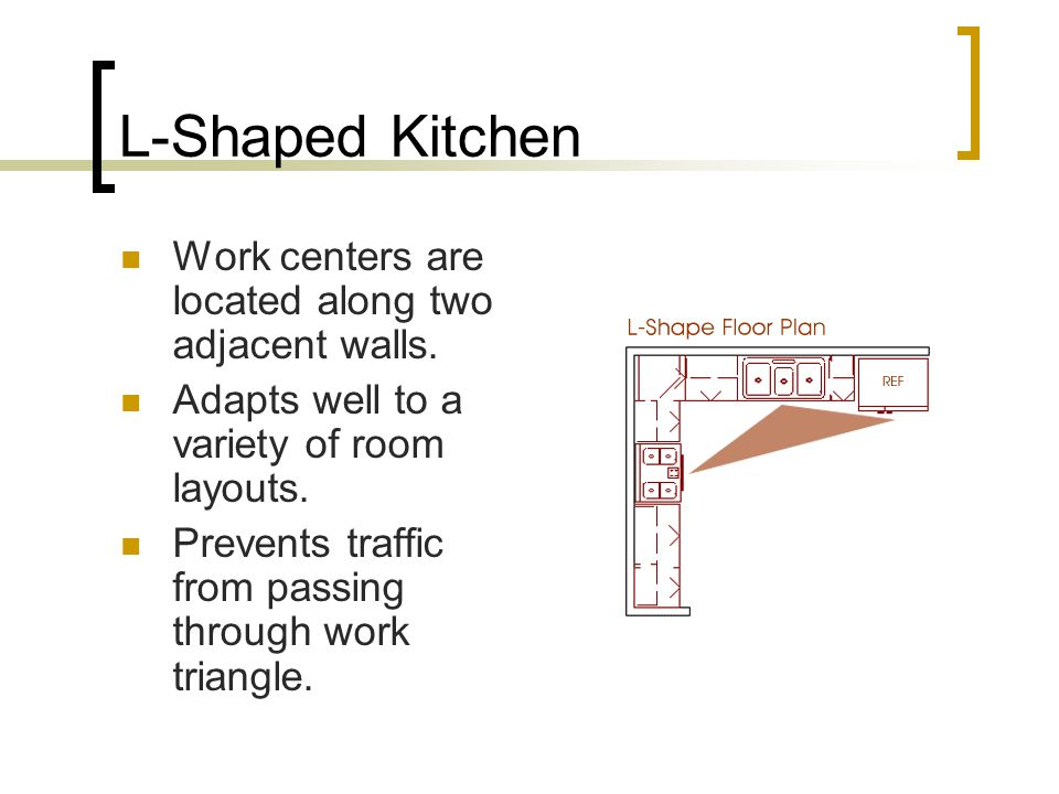 L-Shaped Kitchen Work centers are located along two adjacent walls.