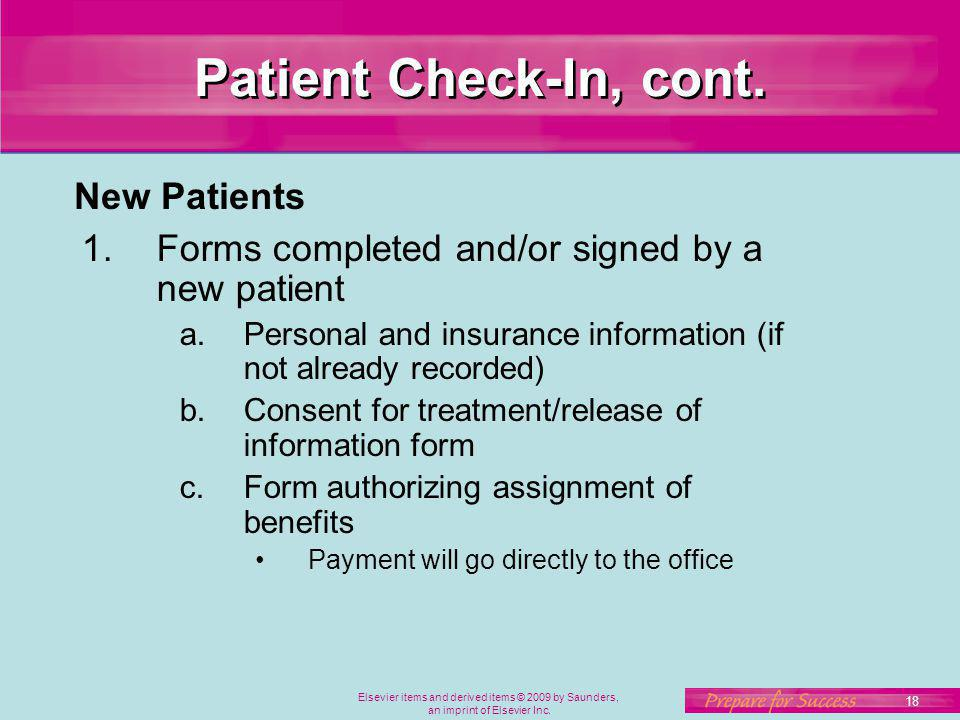 Patient Check-In, cont. New Patients