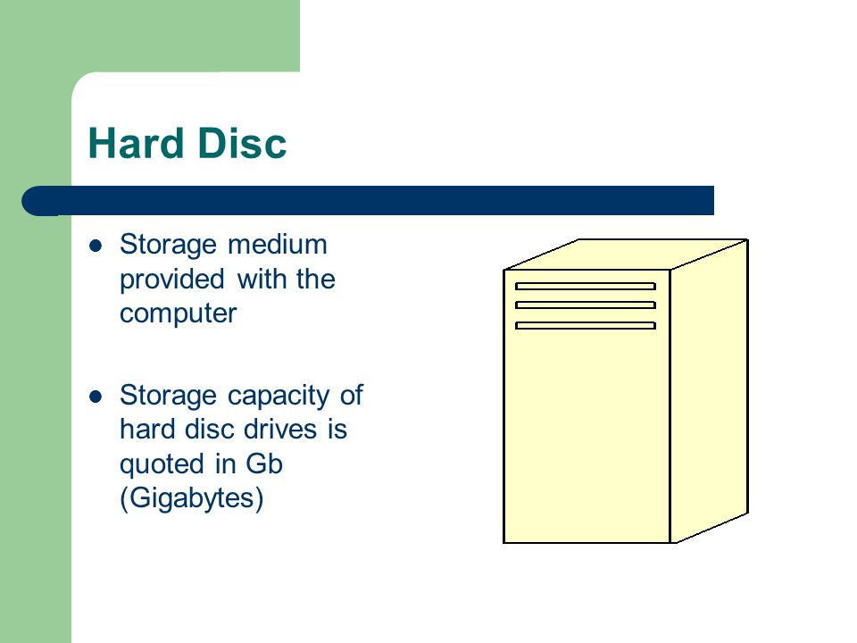 Hard Disc Storage medium provided with the computer