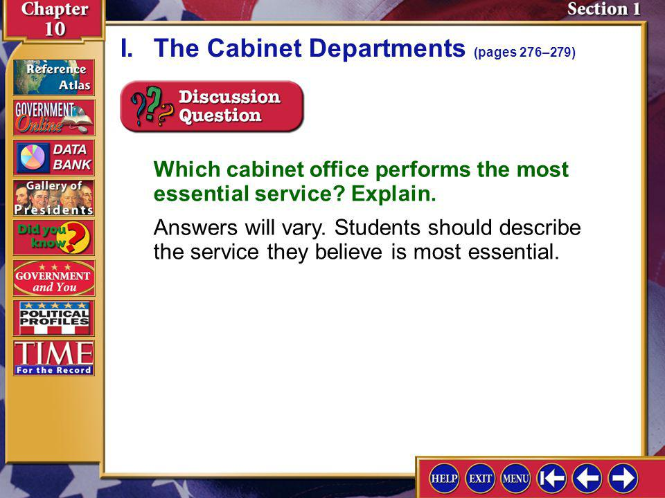 I. The Cabinet Departments (pages 276–279)