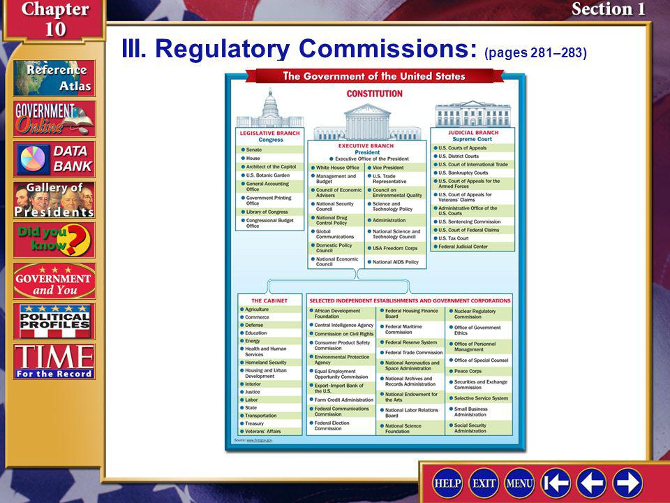 III. Regulatory Commissions: (pages 281–283)