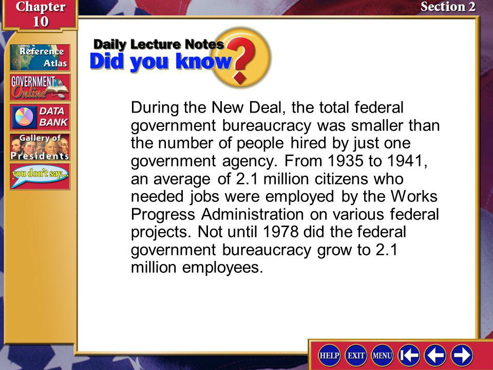 During the New Deal, the total federal government bureaucracy was smaller than the number of people hired by just one government agency. From 1935 to 1941, an average of 2.1 million citizens who needed jobs were employed by the Works Progress Administration on various federal projects. Not until 1978 did the federal government bureaucracy grow to 2.1 million employees.