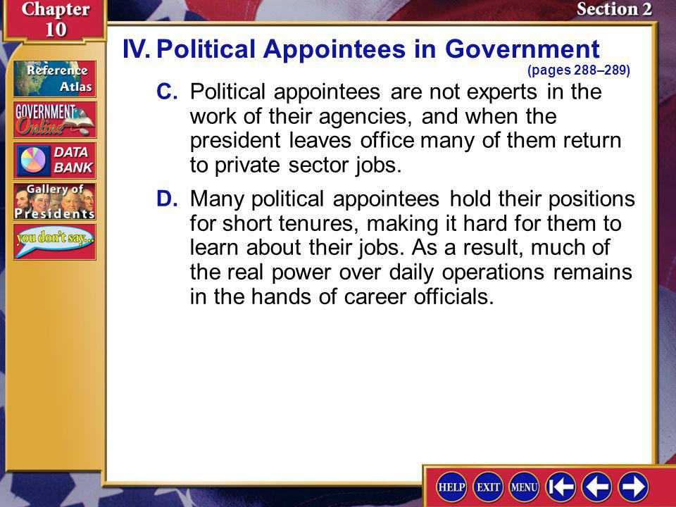 IV. Political Appointees in Government (pages 288–289)