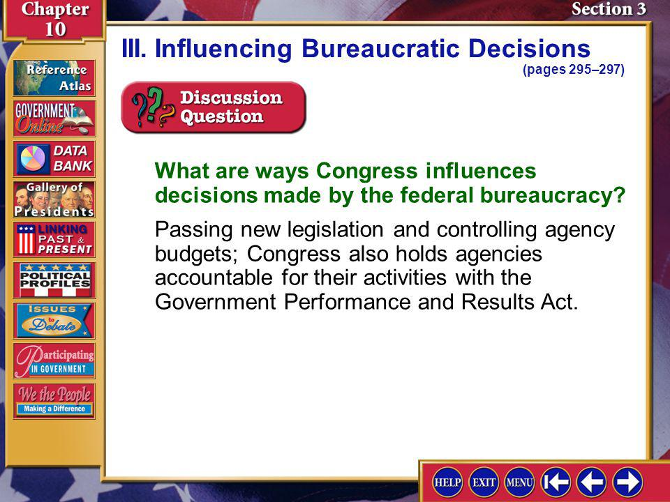 III. Influencing Bureaucratic Decisions (pages 295–297)