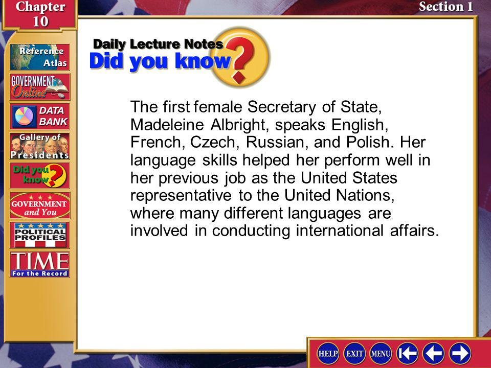 The first female Secretary of State, Madeleine Albright, speaks English, French, Czech, Russian, and Polish. Her language skills helped her perform well in her previous job as the United States representative to the United Nations, where many different languages are involved in conducting international affairs.