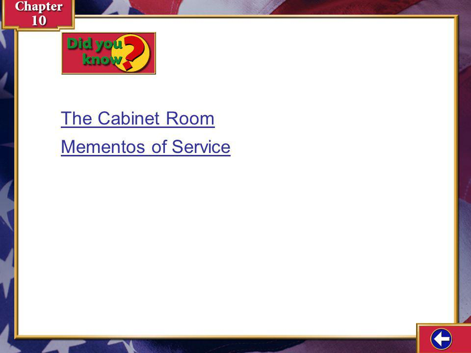 The Cabinet Room Mementos of Service Did You Know 10-1a