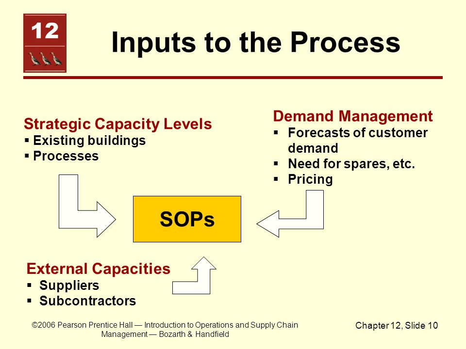 Inputs to the Process SOPs Demand Management Strategic Capacity Levels