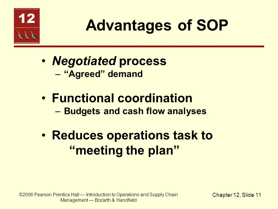 Advantages of SOP Negotiated process Functional coordination