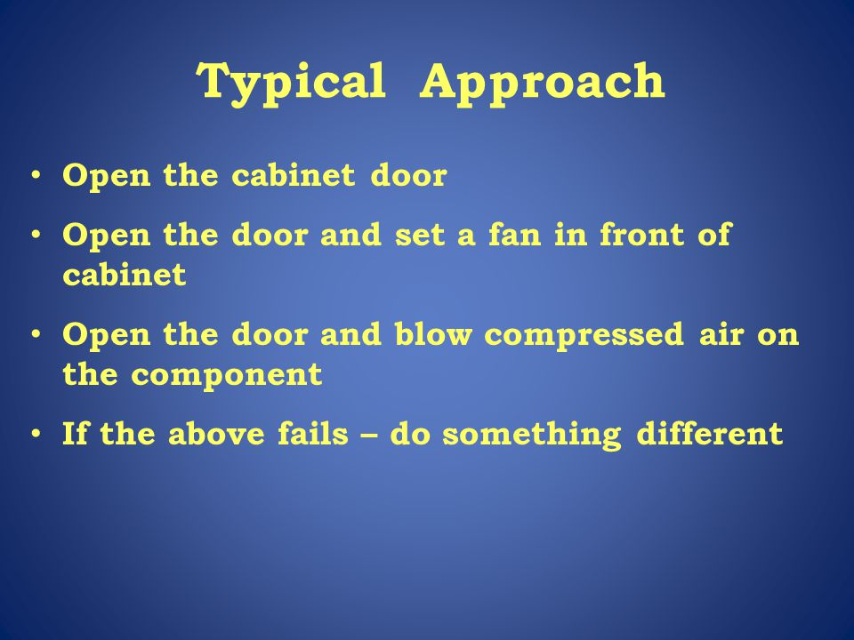 Typical Approach Open the cabinet door